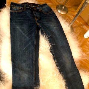 Pristine men's Nudie jeans distressed in SZ 28!!